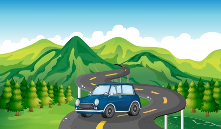 Illustration of a blue car and the winding road Vector