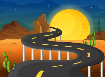 stone bridge: Illustration of a fullmoon at the end of the winding road Illustration