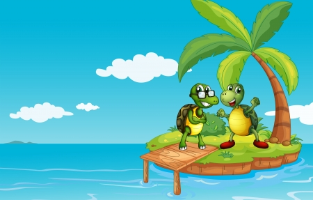 coconut leaf: Illustration of an island with two turtles
