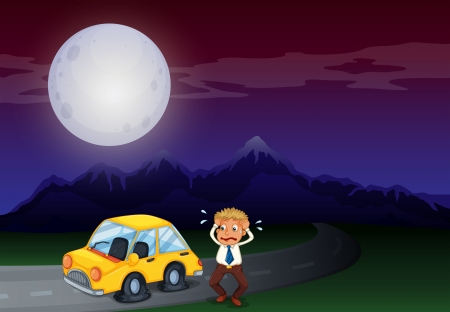 Illustration of a boy with his car in flat tires
