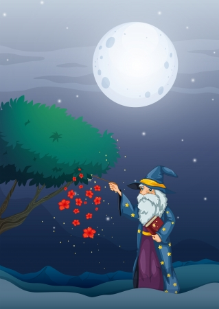 Illustration of a wizard holding a magic book and a wand