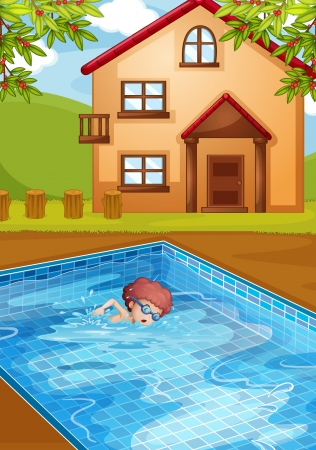 illustration of a boy swimming at the pool in his backyard Vector