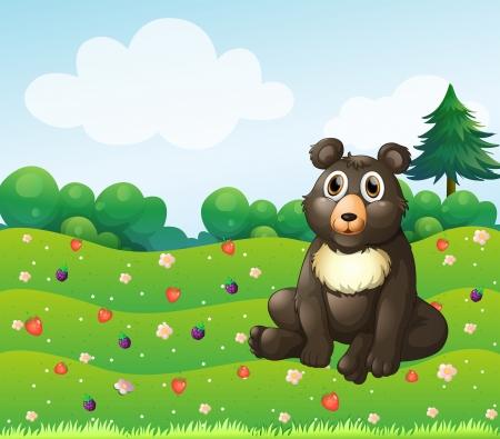 Illustration of a brown bear sitting in the garden  Illustration