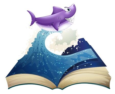 wellenl�nge: Illustration eines Buches mit einem Bild von einer Welle und ein Hai auf einem wei�en Hintergrund Illustration