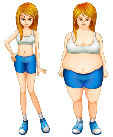 obese person: Illustration of a fat and a slim woman on a white background  Illustration