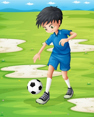 footwork: Illustration of a boy sweating while playing football