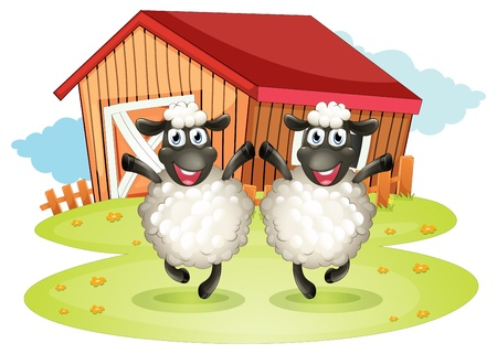 barn black and white: Illustration of the two black sheeps with a barn at the back on a white background