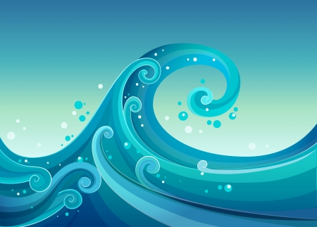 tidal wave: Illustration of the high waves at the sea Illustration