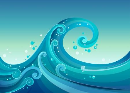 wavelength: Ilustraci�n de las olas en el mar Vectores