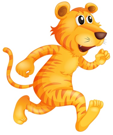 Illustration of a young tiger running on a white background Vector