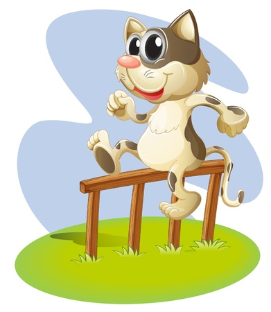 wooden stick: Illustration of a cat sitting on a wooden stick on a white background