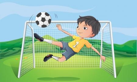 Illustratie van een jonge man voetballen