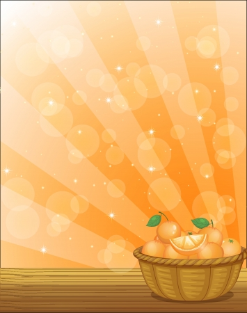 oranges: Illustration of a basket full of oranges