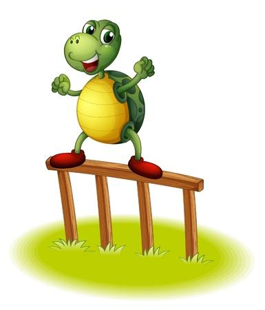 wooden post: Ilustraci�n de una tortuga encima de un poste de madera en un fondo blanco