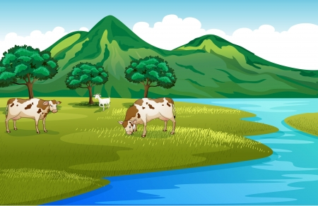 Illustration of the cows and goat at the riverbank