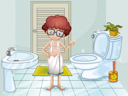 cleaning cloth: Illustration of a boy inside the comfort room Illustration