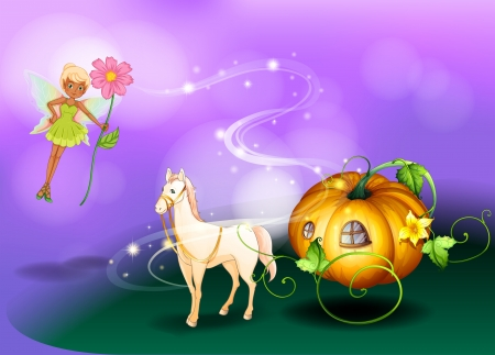 Illustration of a fairy holding a flower with a pumpkin cart  Vector