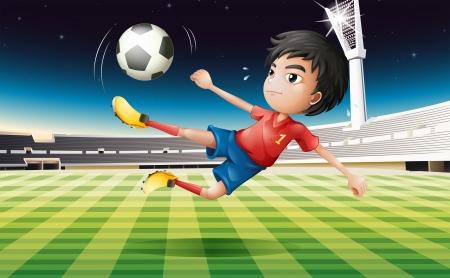 uniforme de futbol: Ilustración de un jugador de fútbol joven con un uniforme rojo