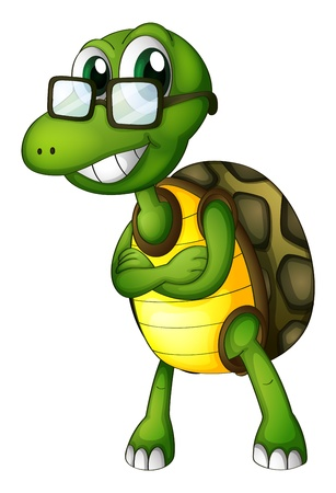 Illustration of a turtle standing with an eyeglass on a white background Vector