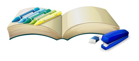 Illustration of an empty book with crayons, a stapler and an eraser on a white background Vector