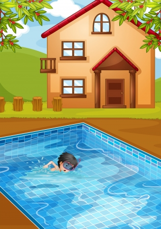 Illustration of a kid swimming at the pool in the backyard