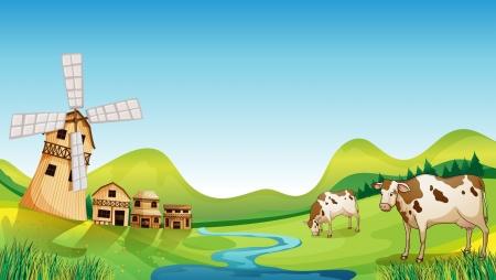 molino de agua: Ilustración de una granja con un granero y vacas