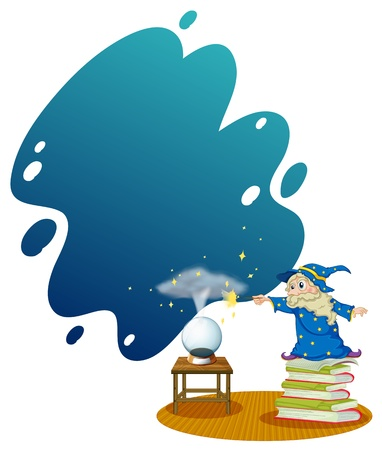 magic book: Illustration of a wizard at the top of the piled books on a white background Illustration