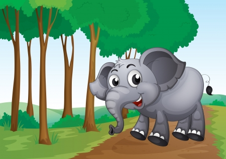 jungle scene: Illustration of an elephant smiling at the forest