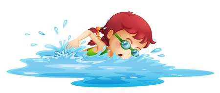 Illustration of a young girl swimming in her green swimming attire on a white background  Vector