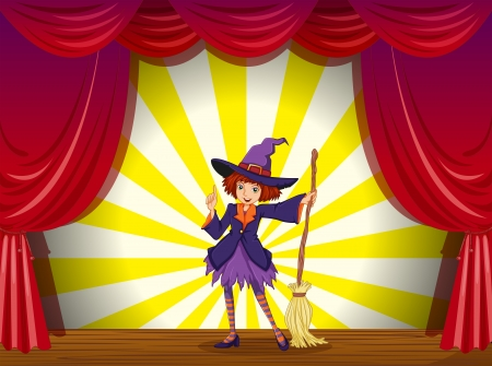 stageplay: Illustration of a witch at the stage with a red curtain Illustration