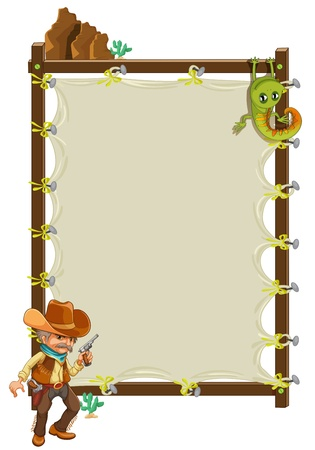Illustration of a cowboy infront of an empty framed banner on a white background Vector
