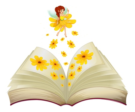 Illustration of a book with a fairy and flowers on a white bckground  Vector