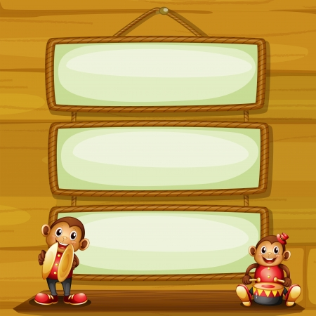 rectangle frame: Illustration of the two musical monkeys in front of the hanging signboards Illustration