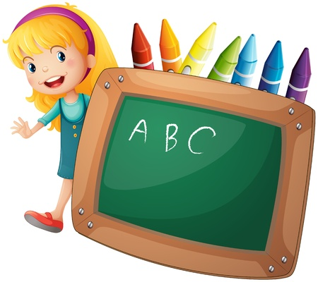 drawing board: Illustration of a young girl beside a blackboard and crayons on a white background