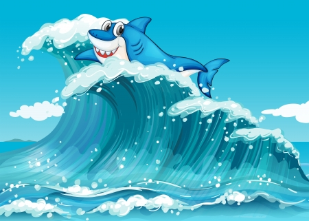 Illustration of a shark above the big waves Vector