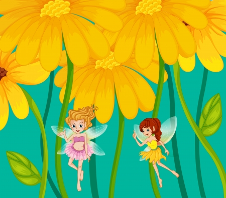 fairy garden: Illustration of the two fairies under the flowers