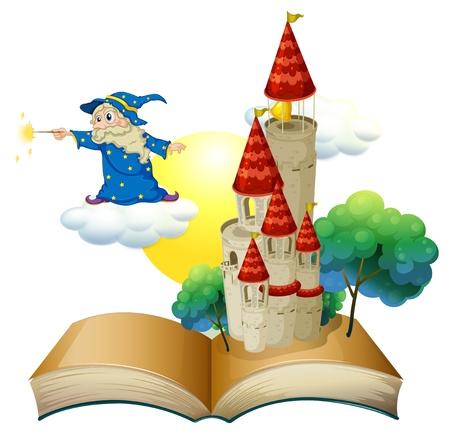 Ilustración de un libro con una imagen de un castillo y un mago en un fondo blanco