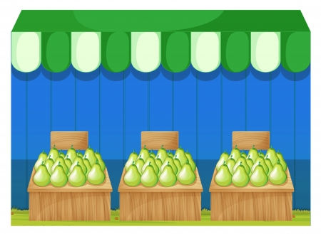 stall: Illustration of the fruit stands with pears on a white background  Illustration