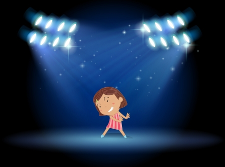 Illustration of a little girl dancing in the middle of the stage Vector