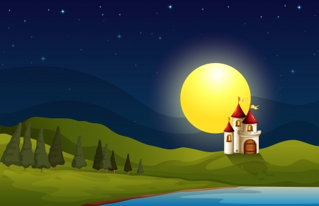 Illustration of a castle at the hill under a bright moon Vector
