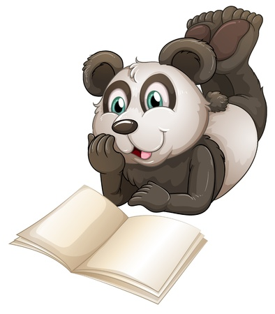 Illustartion of a panda with an empty book on a white background