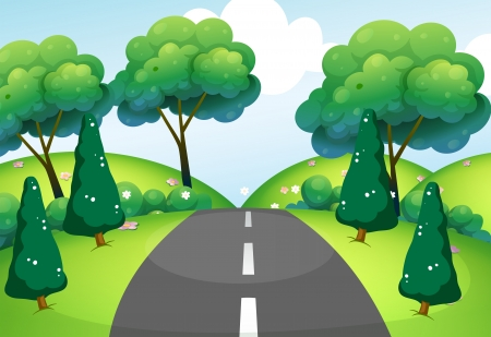 Illustration of a road passing through the hills Vector