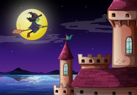 Illustration of a witch going to the castle Vector