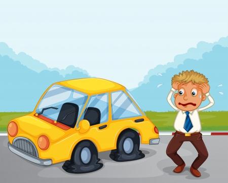 Ilustración de un hombre preocupado al lado de su coche con los neumáticos planos
