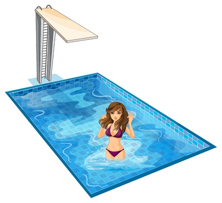 sexy image: Illustration of a girl with her violet bikini at the swimming pool