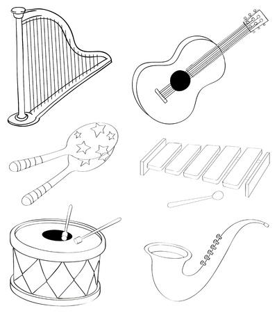 Illustration des silhouettes des différents types d'instruments de musique sur un fond blanc Banque d'images - 19872362