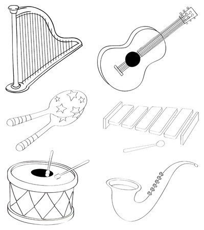 classical guitar: Illustration of the silhouettes of the different kinds of musical instruments on a white background