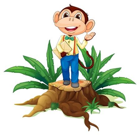 timber cutting: Illustration of a stump with a monkey holding an envelope on a white background Illustration