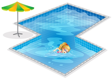 Illustration of a girl swimming at the pool on a white background Vector