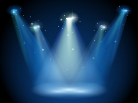 Illustration of an empty stage with spotlights Vector